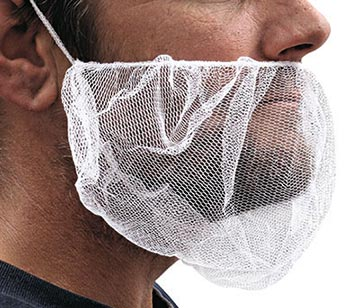"18"" Nylon Mesh Beard Cover - White (100 per bag)"
