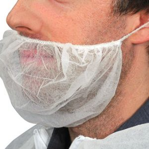 "18"" Non-Woven Polypropylene Beard Cover - White (100 per bag)"