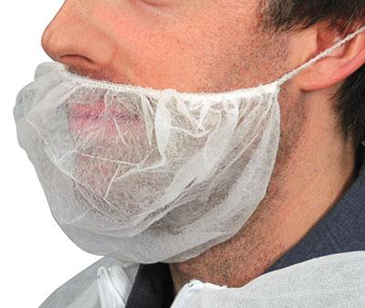 """18"""" Non-Woven Polypropylene Beard Cover - White (100 per bag)"""