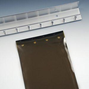 """6' x 8' Smooth Amber Vinyl Strip Door Kit - 8"""" Width (.080"""" Gauge) Overlap 50% (1 Kit)"""