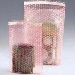 "12"" x 15-1/2"" Sealed Air® Self-Sealing Anti-Static Bubble Wrap® Brand Bag - Pink Tinted (3/16"") (200 per carton)"
