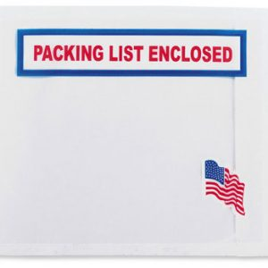 "4-1/2"" x 5-1/2"" Back-Loading Printed Packing List Envelope with U.S. Flag Imprint - ""Packing List Enclosed"" (1000 per carton)"