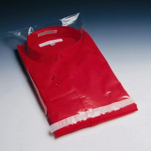 "15"" x 18"" Permanent Adhesive Poly Bag with 1/4"" Vent Hole & 3"" Lip (2 mil) (1000 per carton)"
