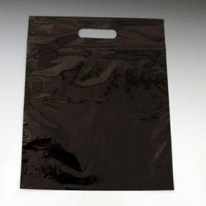 "12"" x 15"" Poly Tote Bag with Die-Cut Handle - Black (4 mil) (500 per carton)"