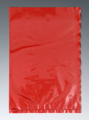 "10"" x 12"" Colored Low Density Flat Poly Bag - Red (2 mil) (500 per carton)"