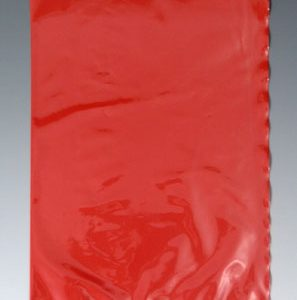 "12"" x 15"" Colored Low Density Flat Poly Bag - Red (2 mil) (1000 per carton)"