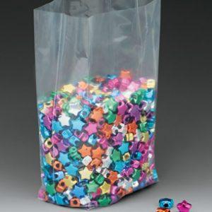 "6"" x 3"" x 18"" Low Density Gusseted Poly Bag (2 mil) (1000 per carton)"