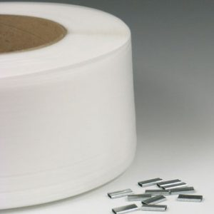 "1/2"" x 9900' Machine Grade Polypropylene Strapping with 9"" x 8"" Core - White (325 lb. Tensile Strength/.024"" Thickness)"