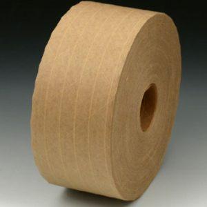 "3"" x 450' Heavy-Duty Fiberglass Reinforced Kraft Gummed Carton Sealing Tape - Tan (#265 Grade) (10 per carton)"