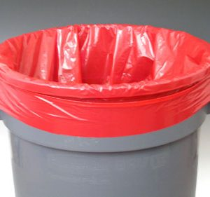 "15"" x 9"" x 23"" Low Density Gusseted Trash Bags - Red (1 mil) (500 per carton)"