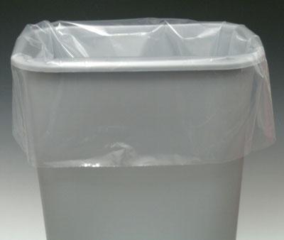 "23"" x 10"" x 40"" Low Density Gusseted Trash Bags - Clear (4 mil) (75 per carton)"