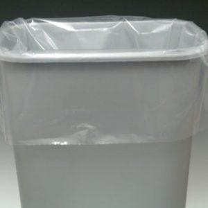 "16"" x 9"" x 30"" Low Density Gusseted Trash Bags - Clear (4 mil) (100 per carton)"