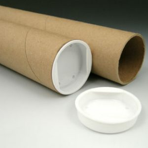 "1-1/2"" x 24"" Kraft Mailing Tubes with Plastic End Caps (3 ply) (50 Tubes)"