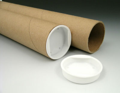 """1-1/2"""" x 18"""" Kraft Mailing Tubes with Plastic End Caps (3 ply) (50 Tubes)"""