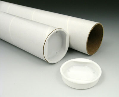 """2"""" x 24"""" White Mailing Tubes with Plastic End Caps (3 ply) (50 Tubes)"""