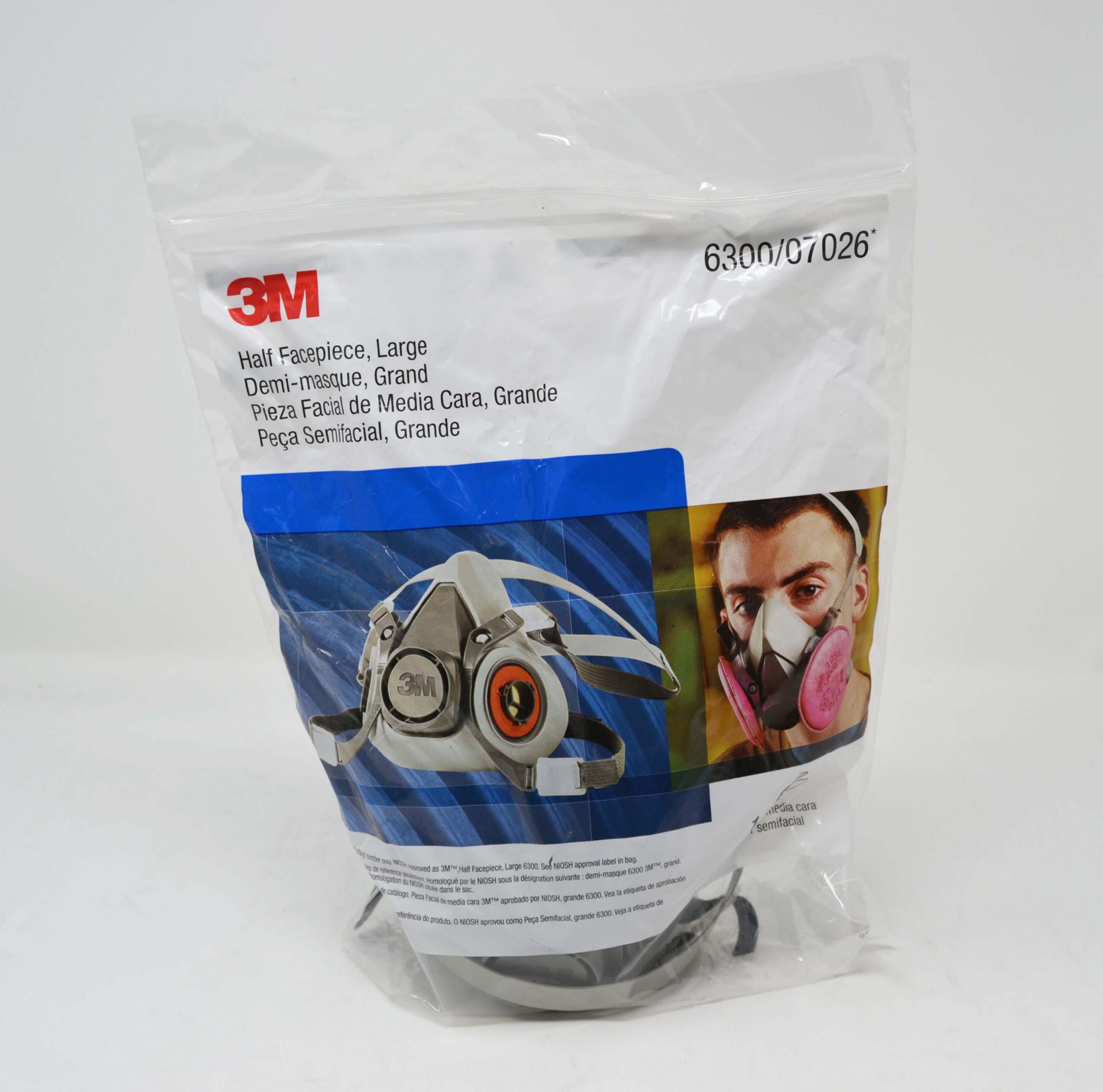 3m half face piece respirator large mask model 6300/07026