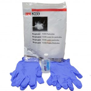 Premium Coronavirus Mask Travel Kit - (1) 3M N100 Mask - (2 pairs) Nitrile Large Gloves - (1) Bottle Hand Sanitizer