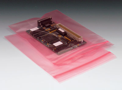 "4"" x 8"" Anti-Static Poly Zipper Bag with Hang Hole - Pink Tinted (4 mil) (1000 per carton)"