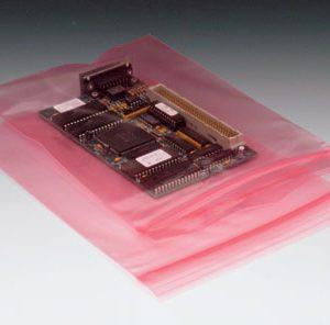 "9"" x 12"" Anti-Static Poly Zipper Bag - Pink Tinted (4 mil) (1000 per carton)"