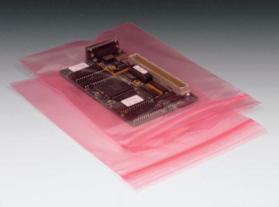"3"" x 5"" Anti-Static Poly Zipper Bag - Pink Tinted (4 mil) (1000 per carton)"