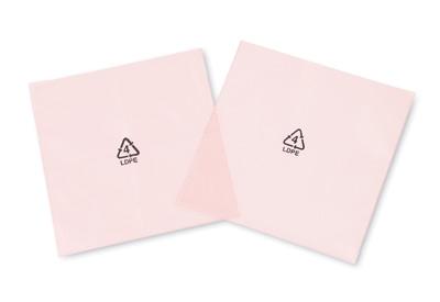 "6"" x 6"" Anti-Static Flat Poly Bag Printed with Recycle Symbol - Pink Tinted (4 mil) (1000 per carton)"