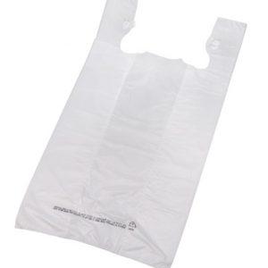 "10"" x 6"" x 21"" High Density T-Shirt Bag - White (.5 mil) (1000 per carton)"