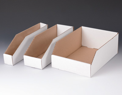 "8"" x 18"" x 4-1/2"" Corrugated Bin Box - White  (100 per bundle)"