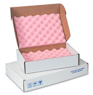 "16"" x 16"" x 2-3/4"" Anti-Static Foam-Lined Corrugated Box (200-lb. Test / 32-lb. ECT) (12 per carton)"