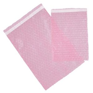 """10"""" x 20"""" Our Own Brand Self-Sealing Anti-Static 3/16"""" Bubble Pouch - Pink Tinted (200 per package)"""