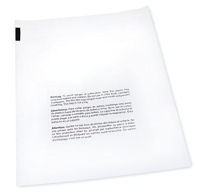 """11"""" x 14"""" Our Own Brand Flat Poly Bag Printed with Suffocation Warning (1 mil) (1000 per carton)"""