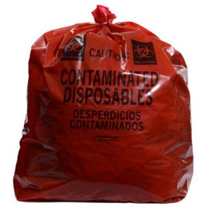 "23"" x 17"" x 46"" Contaminated Disposables Low Density Gusseted Liner - Red (1.5 mil) (250 per carton)"