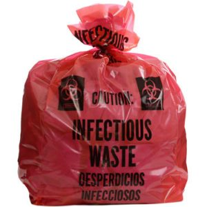 "16"" x 14"" x 36"" Infectious Waste Extra-Strength Low Density Gusseted Liner - Red (3 mil) (100 per carton)"