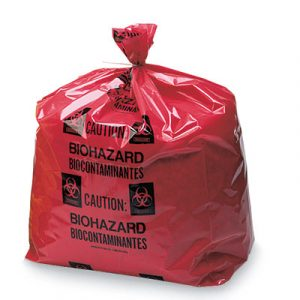 "23"" x 17"" x 47"" Biohazard Message Low Density Gusseted Liner - Red (4 mil) (75 per carton)"