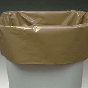 "22"" x 16"" x 59"" Low Density Gusseted Trash Bags - Buff (3 mil) (100 per carton)"