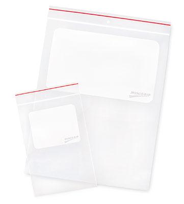 "6"" x 9"" Minigrip® Red Line™ Write-on® Zipper Bag with Hang Hole (4 mil) (1000 per carton)"