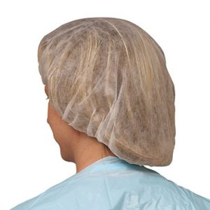"24"" Non-Woven Polypropylene Bouffant Cap - White (100 per bag)"