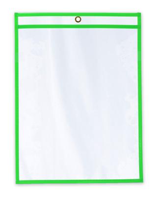 "11"" x 14"" Vinyl Job Ticket Holder with Fluorescent Green Stitched Edges (5.75 Gauge) (15 per carton)"