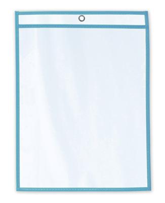 "11"" x 14"" Vinyl Job Ticket Holder with Fluorescent Blue Stitched Edges (5.75 Gauge) (15 per carton)"