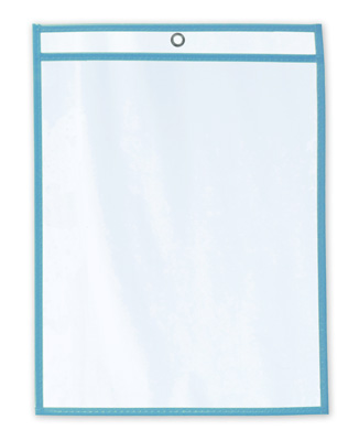 "11"" x 17"" Vinyl Job Ticket Holder with Fluorescent Blue Stitched Edges (5.75 Gauge) (15 per carton)"
