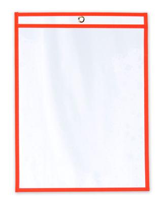 "11"" x 14"" Vinyl Job Ticket Holder with Fluorescent Red Stitched Edges (5.75 Gauge) (15 per carton)"