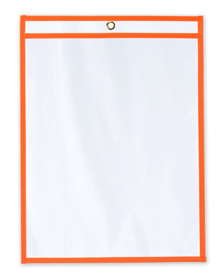 "11"" x 14"" Vinyl Job Ticket Holder with Fluorescent Orange Stitched Edges (5.75 Gauge) (15 per carton)"