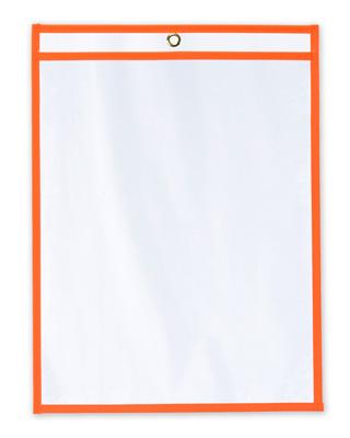 "11"" x 17"" Vinyl Job Ticket Holder with Fluorescent Orange Stitched Edges (5.75 Gauge) (15 per carton)"