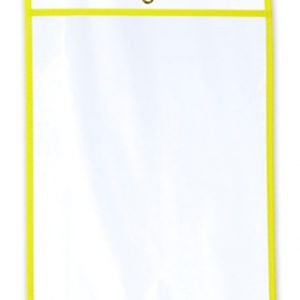 "11"" x 14"" Vinyl Job Ticket Holder with Fluorescent Yellow Stitched Edges (5.75 Gauge) (15 per carton)"