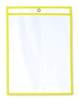 "11"" x 14"" Vinyl Job Ticket Holder with Fluorescent Yellow Stitched Edges (5.75 Gauge) (15 per carton)"