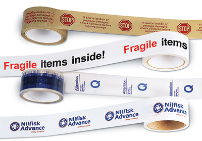 "2"" x 165' Custom Printed PVC Tape - Tan (2.2 mil) - 36 Rolls per Carton (36 per carton)"