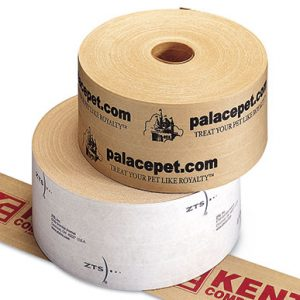 "3"" x 450' Custom Printed Reinforced Gummed Tape - White (#250 Grade) - 10 Rolls per Carton (10 per carton)"